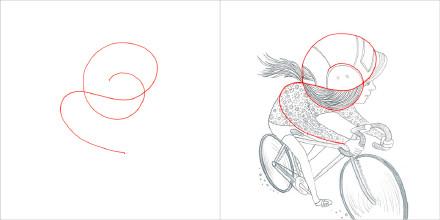 小女孩骑车的形状